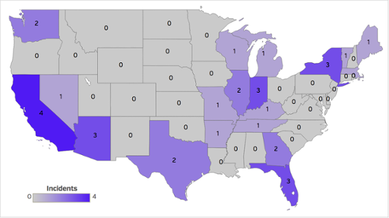 Number of health data breaches by state, October 2016