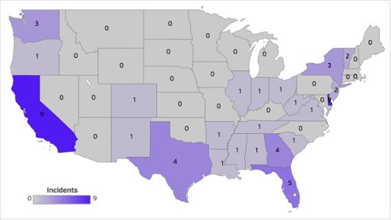 Number of health data breaches by state, November 2016
